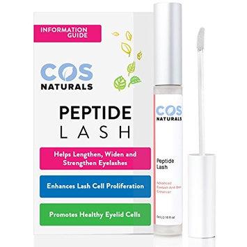 COS Naturals Eyelash Growth Serum PEPTIDE LASH Natural Regrowth Plant Stem Cells Enhancing Treatment For Longer Fuller Eyelashes Thicker Eyebrows With Pentapeptide-17 Panthenol 5ml 0.16 Oz