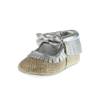 Rosie Pope Glamour Girls Baby Girls Party Shoes 9-12 Months Crib Shoes Baby Shoes Girls Dress Fancy Shoes Silver Gold