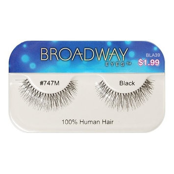 Broadway Eyes False Strip Eyelashes 100% Human Hair Black #747M, BLA39