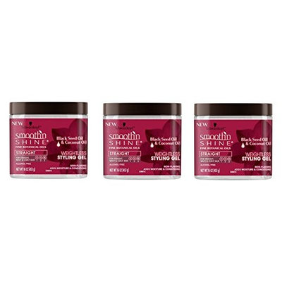 PACK OF 3] SMOOTH N SHINE STRAIGHT WEIGHTLESS STYLING GEL BLACK SEED 16oz : Beauty