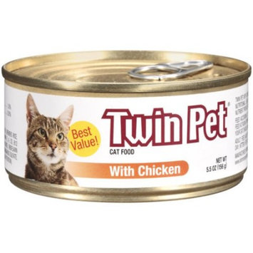 Twin Pet Cat Food with Chicken Wet Cat Food, 5.5-oz. Can