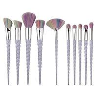 Dilla Beauty 10 Pcs Unicorn Make up Brushes Set Plastic Handle Makeup Foundation Blusher Face Powder Eyeshadow Brushes Kit Beauty Tools