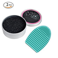 Makeup Brush Cleaner Kit Brush Color Removal Sponge Dry Makeup Brush Quick Cleaner Sponge Removes Shadow Color Switch To Next Color Cosmetic Clean Tools with Silicone Brush Cleaning Egg