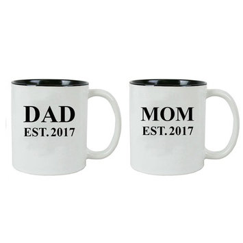 Dad + Mom Established Parents EST. 2017 11 oz Ceramic Coffee Mugs with Gift Boxes