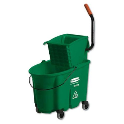 Rubbermaid Commercial 758888GRE WaveBrake Side-Press Wringer And Bucket Combo, 8.75 Gallon, 20 1/10w x 15 7/10d x 36 1/2h, Green