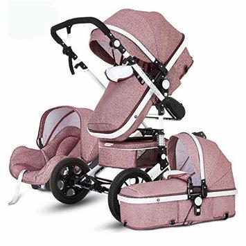 Baby Stroller 3 in 1 High Landscape Pram Foldable Pushchair Reversible Bassinets Luxury Basket