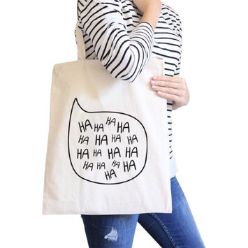 365 Printing Inc Ha Ha Ha Natural Canvas Bags Eco Bag Gift For Family And Friends