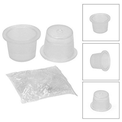 VideoPUP(TM) 100pcs Medium Size 16mm White Plastic Disposable Tattoo Ink Holder Cups Caps Pigment Supplies
