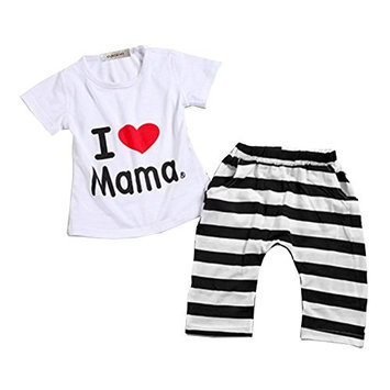 StylesILove Unisex Baby I Love Mama or PaPa T-shirt and Pants 2-piece (18-24 Months, I Love Mama) [baby_clothing_size: baby_clothing_size-18-24months]