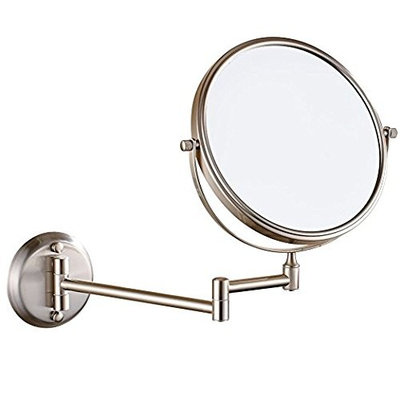 LeHang Double Sided Wall Mounted Makeup Mirror with 7x Magnification,8 inch,Nickel brushed L1306,Nickel Brush (8in,7x)