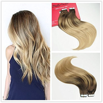 Stella Reina 50g 20 pieces Seamless Brown Balayage Blonde Highlighted Glue Tape In Weft Hair Extensions Chocolates Brown Color #4 To P4/18 Subtle Ombre Dirty Ash Blonde Remy Real Human Hair 18 Inch []