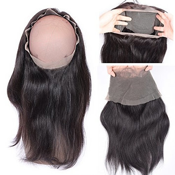 Feel me Hair 360 Lace Band Frontals with Baby Hair 22x4x2 Natural Hairline 360 Lace Virgin Hair Brazilian Body Wave Pre Pluckd Full Lace Frontal Closure Bleached Knots (10inch)