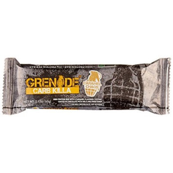 Grenade Carb Killa Protein Bar, Great Tasting High Protein and Low Carb Snack, Caramel Chaos, (Pack of 12)