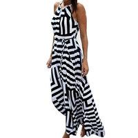 Women Sundress,Boho Striped Strap Skirt Beach Party Essential Maxi Dress Axchongery (Black, S)