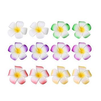 12PCS Colorful 6cm 2.36inch Hawaiian Plumeria Foam Flower Hair Clips For Bridal Wedding Party Color Random