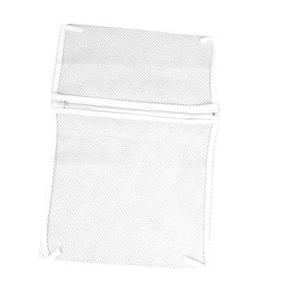 40cm x 30cm Mesh Washing Lingerie Laundry Washer Zipper Bag White