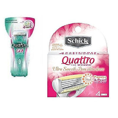 Schick Quattro for Woman GO Razor Handle + Schick Quattro for Women Razor Refill Blade Cartridges, Ultra Smooth, 4 Ct. + FREE Old Spice Deadlock Spiking Glue, Travel Size, .84 Oz