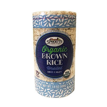 Sprouts Organic Brown Rice Cake Cracker 3.5oz, 2 Packs (Unsalted)