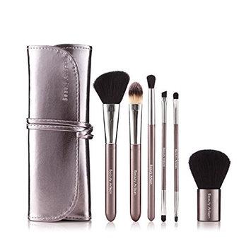 Beauty Artisan 6-Piece Makeup Brush Set with Case Foundation Brush Powder Brush Cosmetic Eyeshadow Brush Lip Brush for Powder Liquid Cream Blending