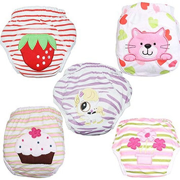 Babyfriend Baby Girls' Reusable 5 Pack Toilet Training Pants Nappy Underwear Cloth Diaper TP5-003