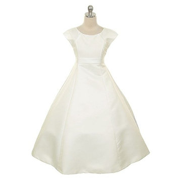 Rain Kids Girls 12 Ivory Bridal Satin Flower Special Occasion Dress