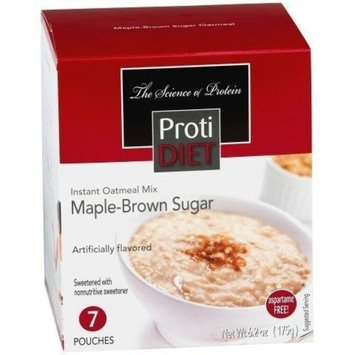 ProtiDiet - High Protein Diet | Maple Brown Oatmeal | Low Calorie, Sugar Free, Low Fat ( 7/Box )