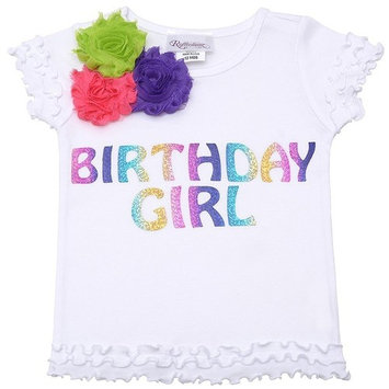 Reflectionz Little Girls White Birthday Floral Ruffled Hem Top 2T