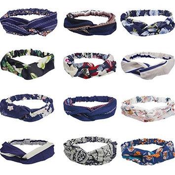 Maxdot 12 Pieces Women Headbands Elastic Hair Bands Turban Women Girls Headwrap Yoga Sports Stretchy Headband