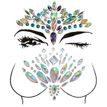 Face Gems, Ynredee 2 Set Women Mermaid Rave Festival Glitter, Rhinestone Temporary Tattoo Face Jewels Crystals Face Stickers Eyebrow Face Body Jewelry (Breast and Face 2)