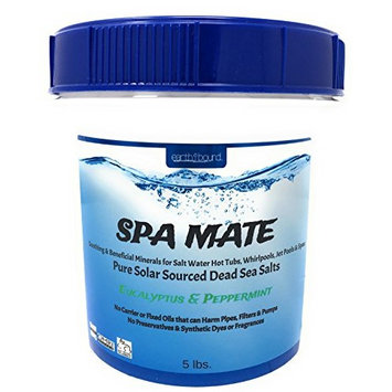 Earthbound Spa Mate with Eucalyptus & Peppermint / Pure Bulk Mineral Dead Sea Salts for Salt Water Spas, Whirlpools and Hot Tub Systems / Reusable Bucket with Handle / 5 Pounds