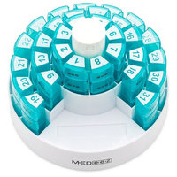 Monthly Pill Organizer 31 Day Pill Box with 4 Time of Day Compartments Bonus Pill Crusher and Pill Splitter by MEDeez