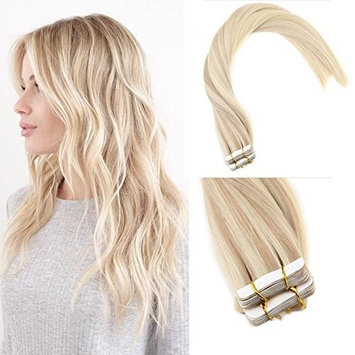 Sunny 24inch Remy Tape in Hair Extensions Human Hair Nordic Balayage Blonde Highlight Remy Hair Extensions Human Hair Tape in 20pcs/50g per pack []