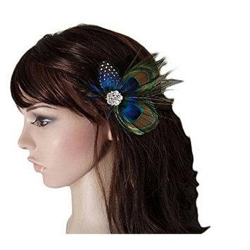 JKLcom Hair Clips Peacock Feather Hair Clip Pack of 2, Hair Accessories, Wedding Brides Gift