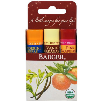 Badger Company, Lip Balm Gift Set, Red Box, 3 Pack, .15 oz (4.2 g) Each