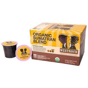 Westrock Coffee Organic Certified Sumatran Blend Dark Roast Single Serve Gourmet Coffee 12 Count cups.