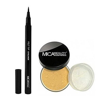 Bundle 2 Items : Mica Beauty Mineral Foundation Mf-5 Cappuccino +Felt Tip Liquid Eyeliner by Micabella