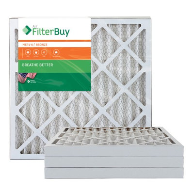 AFB Bronze MERV 6 22x22x2 Pleated AC Furnace Air Filter. Filters. 100% produced in the USA. (Pack of 4)