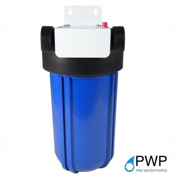 Pro Water Parts PWP Single Stage 10x4.5 Blue Filter Housing W/Mounting Bracket 1 NPT W/BrassInsert