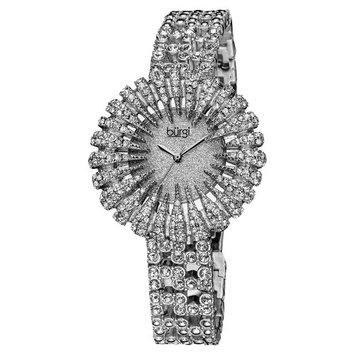 Burgi Women's Dazzling Crystal Silvertone Quartz Watch