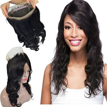 Pre Plucked 360 Body Wave Closure Human Hair with Baby Hair and Natural Hairline for Black Women, LLWear 130% Density Brazilian Virgin Natural Color 18 Inch