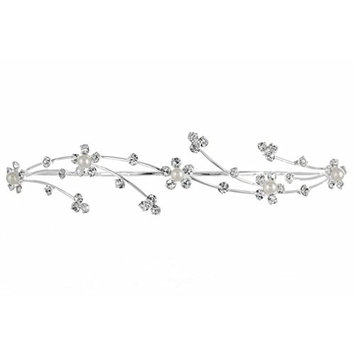 Elegant Flower Girl Bridesmaid Tiara Hair Comb - Silver Plated Faux Pearls T160