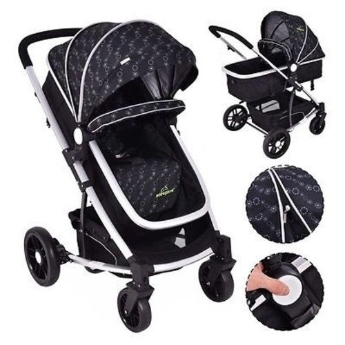 2 In1 Foldable Baby Stroller Kids Travel Newborn Infant Buggy Pushchair Black