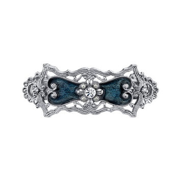 Silver-Tone Crystal Simulated Pearl and Blue Enamel Hair Barrette