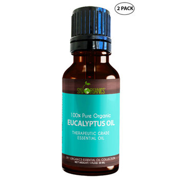 Best Eucalyptus Essential Oil By Sky Organics-100% Organic, Therapeutic Oil For Diffuser, Aromatherapy, Massage Oil, Allergies, Headaches, Joint Pain - Scented Oil For Candles & DIY -1oz (2 pack)