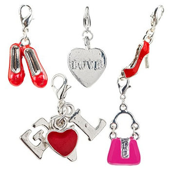 Fashion and Jewelry Sets Kits of 5 Each Trendy Silver Colored Charms Clip On Pendants for Armbands Bracelets Bangles With Different Decorations
