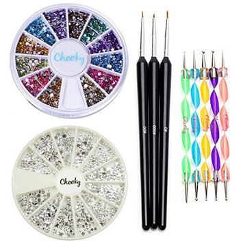 High Quality Professional Nail Art Set Kit With Pack of Silver Gems Rhinestones Crystals, Premium Manicure 12 Colors Gemstones Wheel, Fine Detail Wooden Nailart Brushes and Double Ended Dotting Marbling Tools By VAGA®