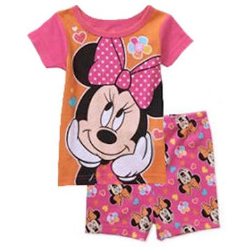 Fisher-price Minnie Mouse Baby Girls 2 Piece Shirt & Shorts Pajama Set (9 Months)