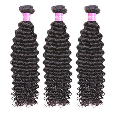 Original Queen Deep Wave Indian Virgin Human Hair Weave Weft 3 Bundles 300 Grams Mixed Inches Unprocessed Deep Curly Hair Extensions 18 18 18inches