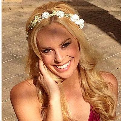 RQJ Woman Flower Headbands Crown Wedding Pearl Bridal Hair Wreath Floral Girls Halo Garland Party