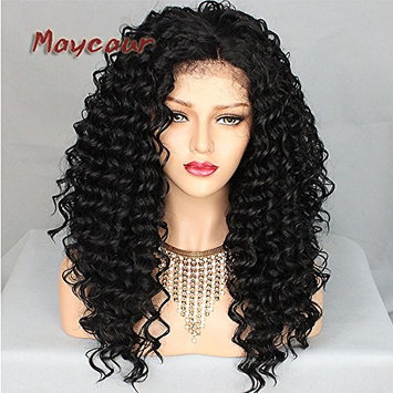 Maycaur Synthetic Lace Front Wig Kinky Curly 10% Human Hair+90% Heat Resistant Fiber Wigs Black Color With Baby Hair For Women